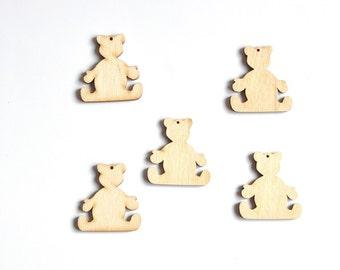 Teddy Bear Wooden Shape. Bear Wooden Ornament. Love Teddy Bear. #AUSK041