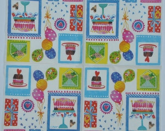 Decorative Decoupage Paper. Birthday Paper Napkin. Table Tissues. Birthday Serviette. #0114