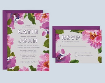 Floral Wedding Invitation, Purple Wedding Invitation, Printable Wedding Invitation, Peonies Wedding Invitation, Spring Wedding Invitation