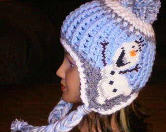 Crochet Olaf Inspired Earflap Hat Pattern Only Fits 5-Adult Olaf Is A Plastic Canvas Applique