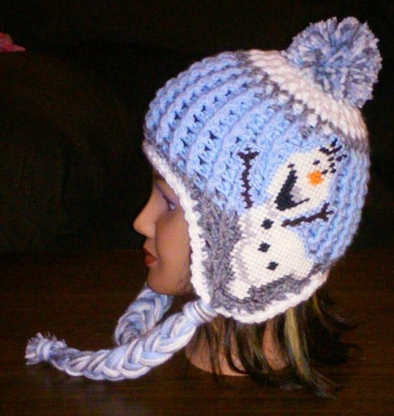 Crochet Olaf Inspired Earflap Hat Pattern Only Fits 5-Adult