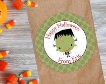 Personalized Halloween favor stickers, cute Halloween Frankenstein stickers in 2 inch or 3 inch round labels, Halloween gift tags