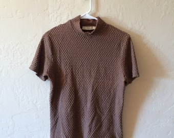 Brown Textured Mock Neck T Shirt, Size S/M
