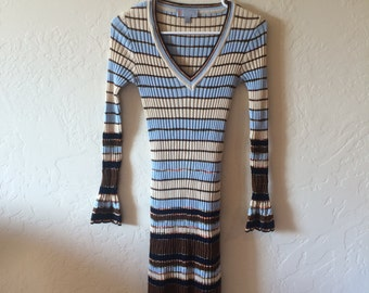 Vintage Missoni V Neck Striped Dress, Size US Women's 4