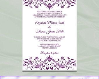 Plum Wedding Invite | Etsy