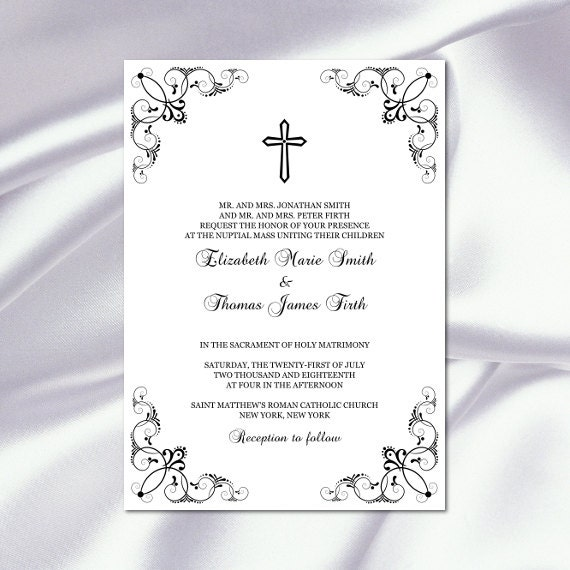 catholic wedding invitation template diy printable black