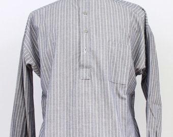 Grey Striped Cotton Busserull Shirt