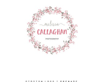 Custom Logo  Premade Logo  Logo  Business Logo  Branding  Flower logo  Boutique Logo  Photography Logo Wreath Logo  Watercolor