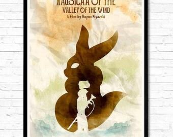 Watercolor Kaze No Tani No Nausicaä - Nausicaa of the Valley of the Wind Hayao Miyazaki Minimalist Movie Poster