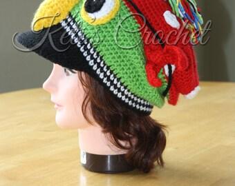 Pirate Hat,Crochet Pirate Hat,Pirate Parrot,Pirate Parrot Hat,Pirate Parrot Slouchy,Pirate Parrot Brim Hat,Pirate Parrot Visor Slouchy Hat