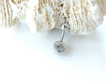 Simple Belly Button Ring You Choose Bar Length, Crystal Belly Button Ring, Surgical Steel Barbell, Extra Short Belly Ring, 14g Barbell. 980