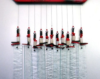 Stained Glass Windchime - Black and White Windchime - Ruby Red -  Silver, R1001
