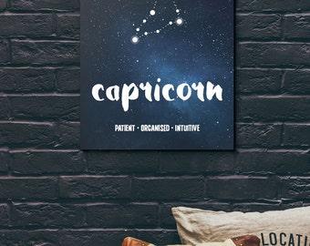 Capricorn zodiac star sign art print - printable wall art