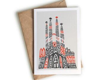 Sagrada Familia Illustrated Notecard, Blank Greeting Card, Travel Note Card, Red and Black, Anniversary Gift, Holiday Destination, Gaudi Art