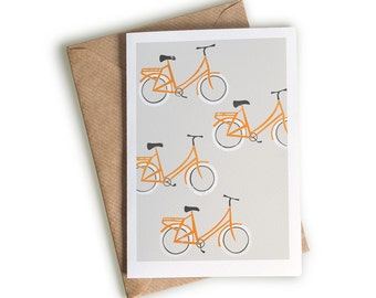 Bicycles Card, A6 Size, Gift for Cyclist, Orange Road Bike, Blank Greeting Card, Quirky Illustration, Ride My Bicycle, The Great Outdoors,