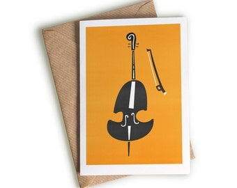 Double Bass Music Card, A6 Size, Art, Musician Gift, Loves Music, String Instruments Art, Black and Orange, Orchestral Theme, Music Lovers