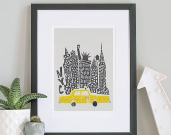 New York City Print, NYC, City Skyline, Celebrations, Retro Decor Ideas, Yellow Cab Poster, Architecture, Buildings, Statue Of Liberty