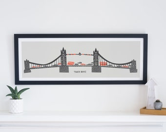 Tower Bridge Panoramic Print, City Art, London Architecture, Travel Wall Art, Red and Black, World Cities, Mid Century Modern Illustration