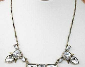 Bronze Chain with Crystal Clear Beads Necklace / Bib Necklace.