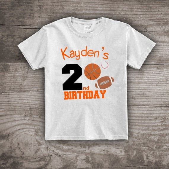 Sports Birthday Themed T-shirt 2nd Birthday Football