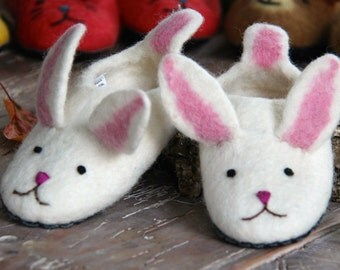Handmade children's bunny slippers made from merino wool