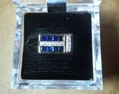 Man's Blue Sapphire and Diamonds 14kt Yellow Gold Ring  - 8 Beautiful Blue Square Sapphires with 10 Round Diamonds