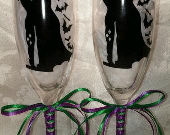 Batman and Harley Quinn Wedding Glasses (162140513615)