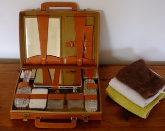 Necessary toiletries vintage travel suitcase, leather Toiletry Kit, fathers day gift