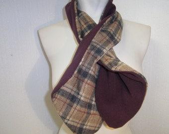 reversible scarf, checkered Maroon wool, men, women, handmade, unique, himmeldurchnadeloehr