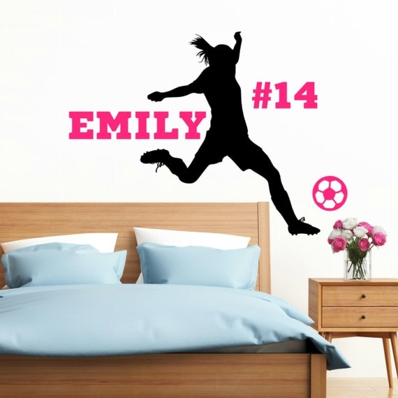 Personalized Soccer Girl Vinyl Wall Decal with Name Soccer