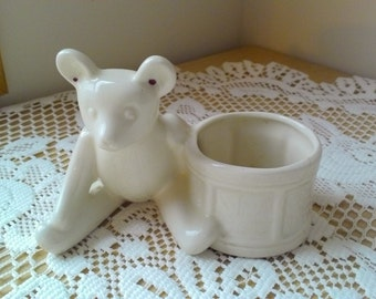 Vintage Cute Ceramic Planter/Vase Teddy Bear Sitting Next to a Drum