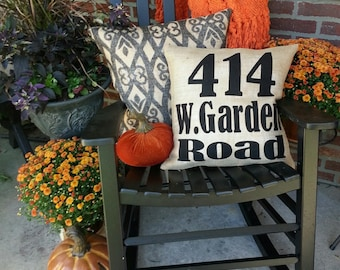 Burlap Outdoor Address Zip Code pillow covers with black font
