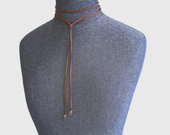 Bolo - Long Wrap Necklace - Caramel Brown - Vegan Suede