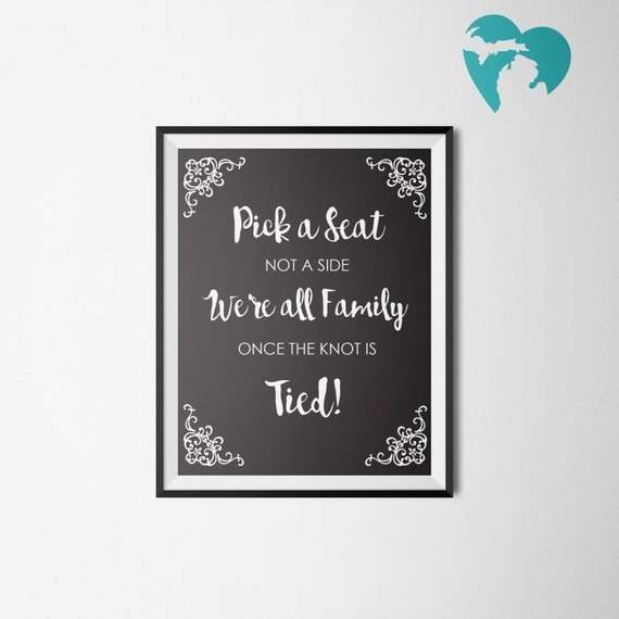 Pick a Seat Not a Side | Wedding Printable | Instant Download | Choose a Seat | Ready to Print