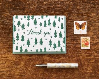 Pine Tree Pattern Thank You Card,  Letterpress Folded Note Card, Blank Inside