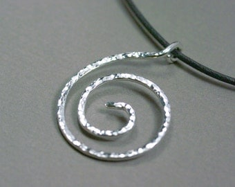Sterling silver spiral pendant, Simple spiral hammered silver pendant, Hammered circle of life, Hammered necklace, Sterling silver necklace