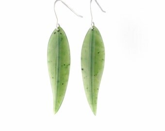 Canadian Nephrite Jade Earrings, Leaf 1885