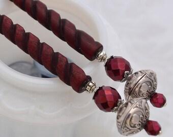 Natures Splendor - Casual Hairsticks - Burgundy and Antique Silver hair ornaments - Twisted bone hair sticks