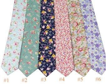 Floral Tie.Mens Wedding Tie.Floral Skinny Tie.Summer.Spring Wedding.Mens Gift.