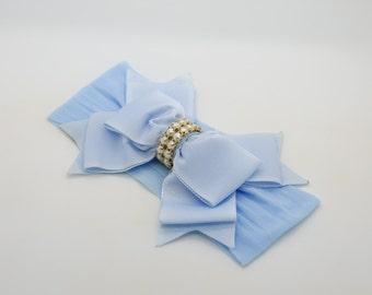 Baby Headband Headwrap, Light Blue Baby Headband, Newborn Headband, Baby Bow Headband, Blue Nylon Headband, Baby Bow Headband, 906