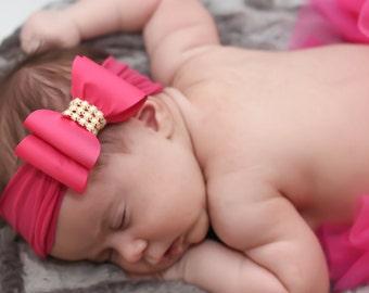Hot Pink Bow Headband, Pink Baby Headband, Baby Big Bow Headband, Newborn Headband, Baby Headband, Nylon Headband, Pink Baby Headband, 936