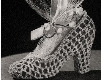 Crochet Shoe Pattern Vintage 70s Crochet Wedding Favor Pattern Crochet Heel Pattern Crochet Bachelor Favor Pattern