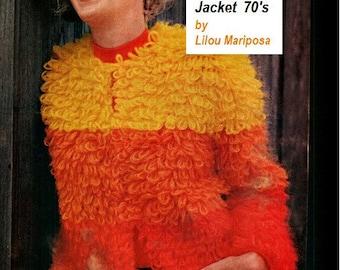 Crochet Jacket Pattern-Cardigan Pattern- Mod Jacket Pattern- Crochet Pattern Vintage 70s Crochet Sweater 70s