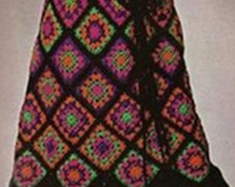 Crochet SKIRT Pattern Vintage 70s Granny Square Skirt Pattern Boho Bohemian Clothing
