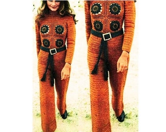 Crochet Pants Pattern Vintage 70s Crochet Jumpsuit Pattern Crochet Hippie Pants Pattern Crochet Motif Jumpsuit Pattern