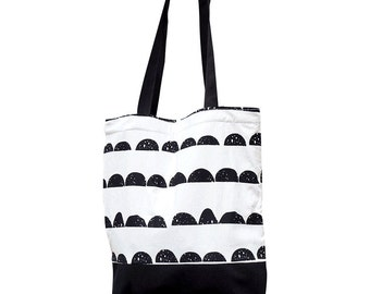 Black and White Half Moon pattern tote bag Black and White woman bag 100% Cotton fabric Nordic design Scandinavian style Free Shipping
