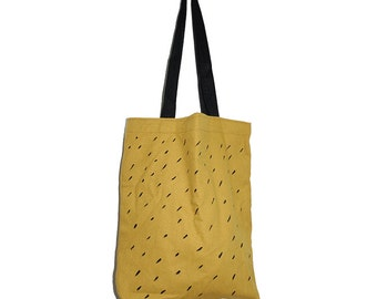 Women's Tote Bag -One piece - Mustard and Black hand painted pattern woman bag Trending fashion 100% Cotton Minimalist fashion