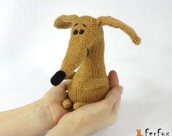 Knitted dog, stuffed dog, hand knit  puppy, amigurumi dog, hand knit toy, stuffed animal - Sue the Puppy