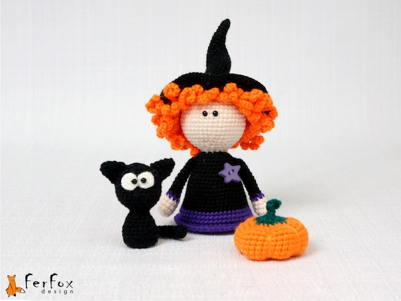 Little Witch doll, black cat, pumpkin, crochet witch, handmade doll, home decor, Halloween decoration