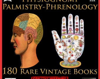 180 Vintage Palmistry Phrenology Physiognomy Face & Palm Reading Chiromancy  Books on DVD